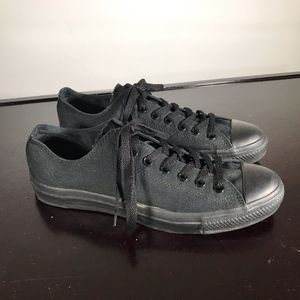 Converse All Star Total Black canvas men Sz 9.5